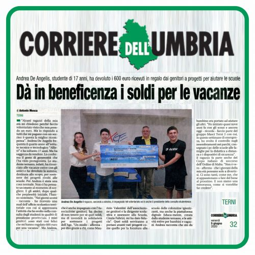 Corriere dell'Umbria Beneficenza Andrea De Angelis