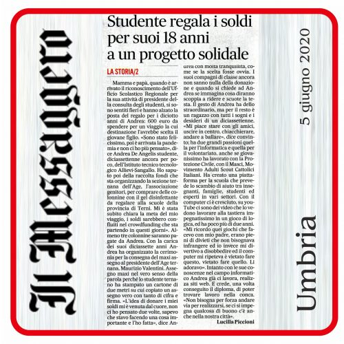 Il Messaggero Beneficenza Andrea De Angelis