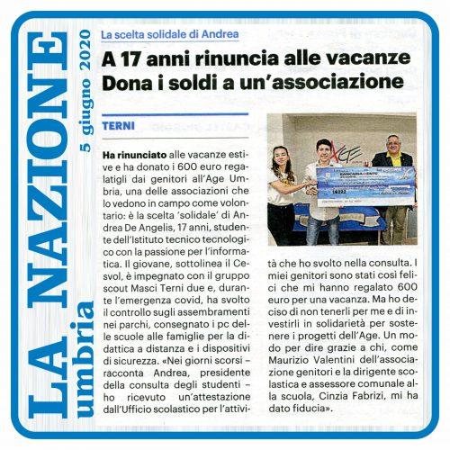 La Nazione Beneficenza Andrea De Angelis