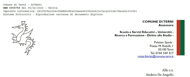 Lettera Assessore Comune di Terni Andrea De Angelis